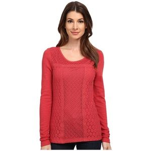 Lucky Brand Lace Patched Thermal Shirt Size S